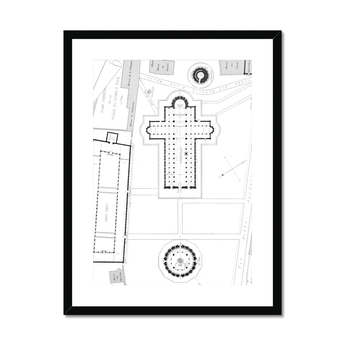 Pisa - Site Plan - White -  Framed & Mounted Print