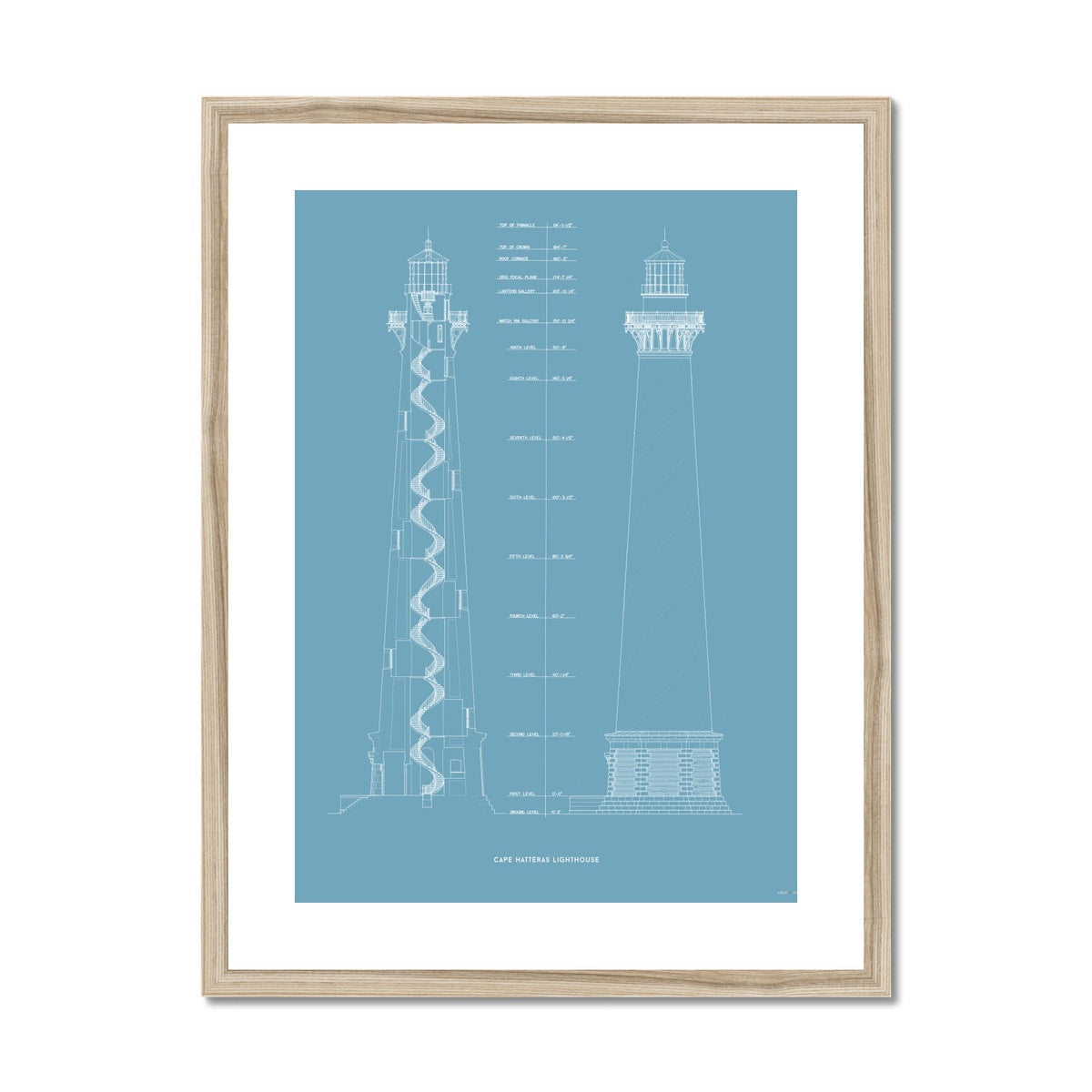 Cape Hatteras Lighthouse - East Elevation and Cross Section - Blue -  Framed & Mounted Print