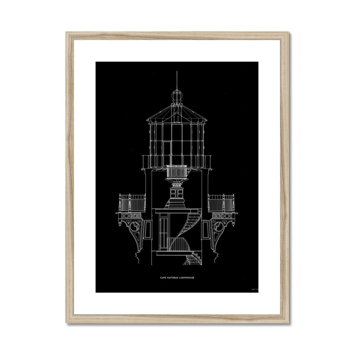Cape Hatteras Lighthouse - Lantern Cross Section - Black -  Framed & Mounted Print