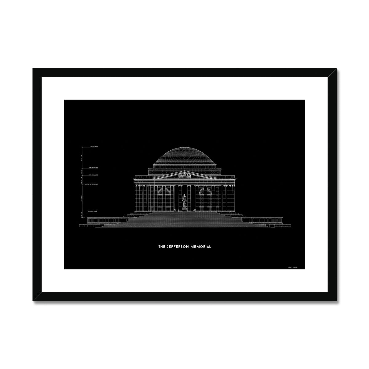 The Jefferson Memorial North Elevation - Black -  Framed & Mounted Print