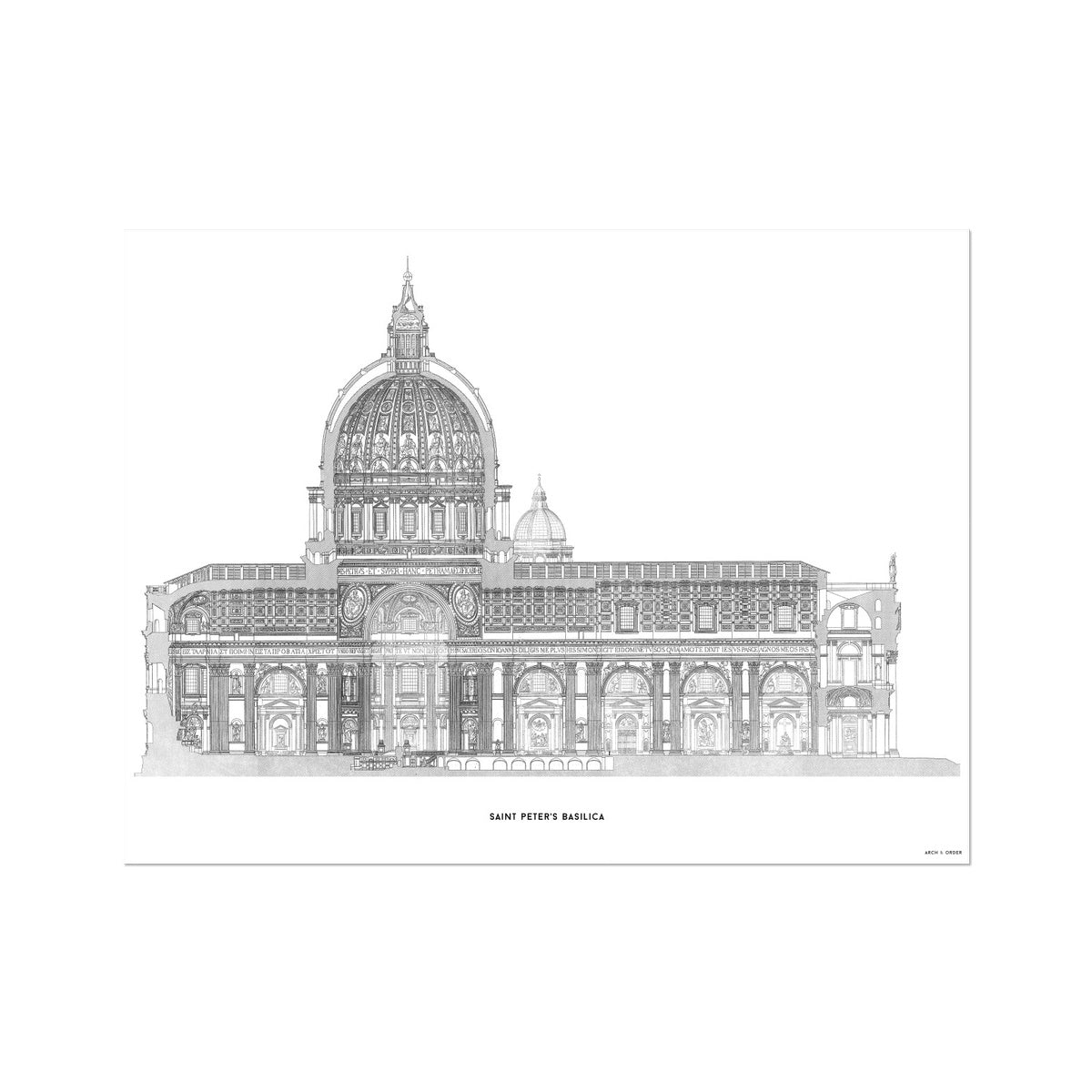 Saint Peter's Basilica - Side Elevation Cross Section - White -  Etching Paper Print