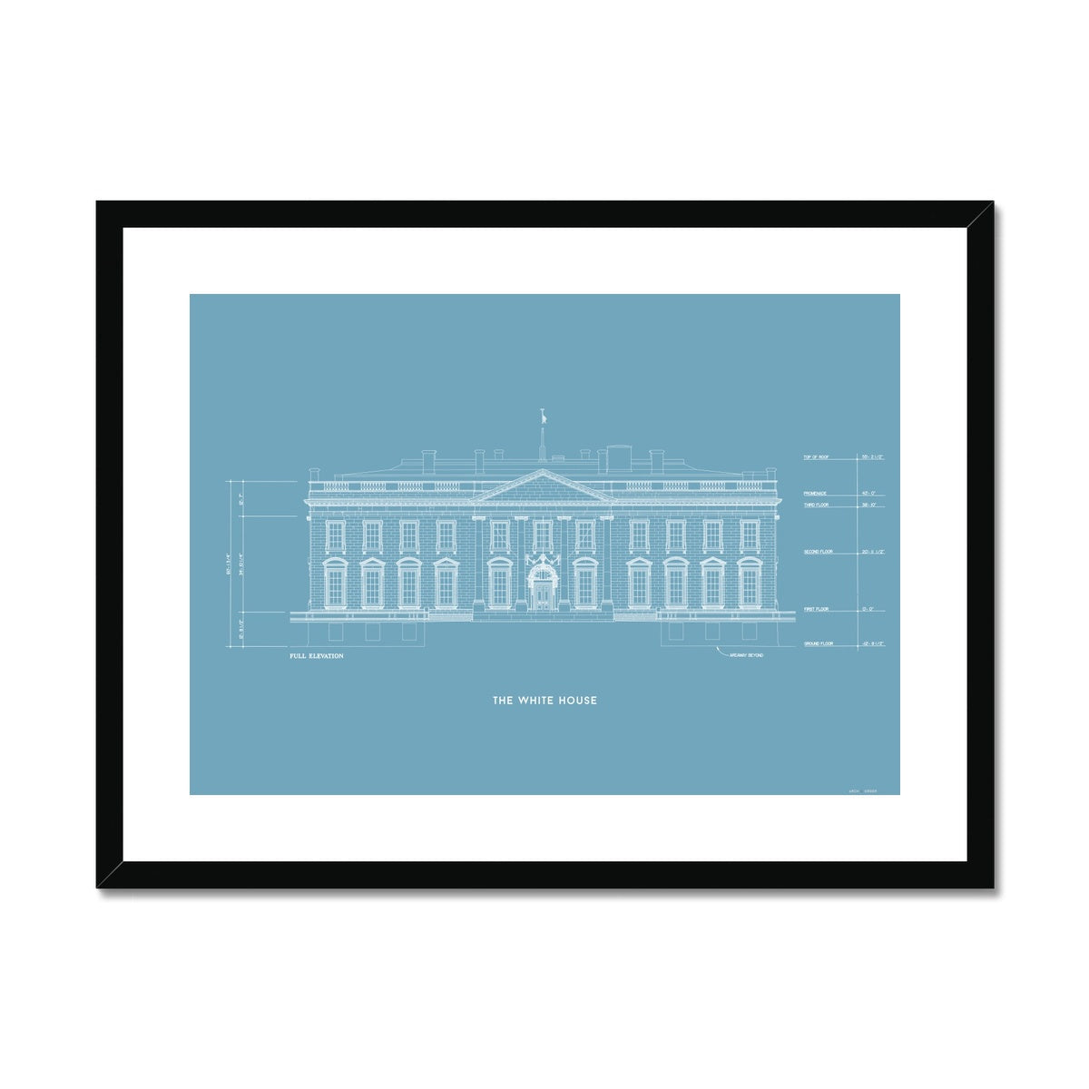 The White House North Elevation - Blue -  Framed & Mounted Print