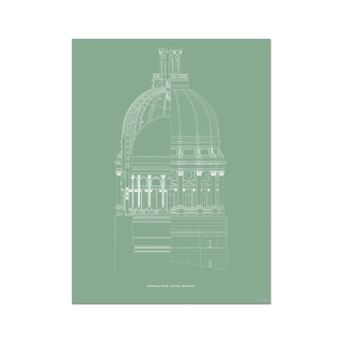 The Georgia State Capitol Building - Dome Cross Section - Green -  Etching Paper Print