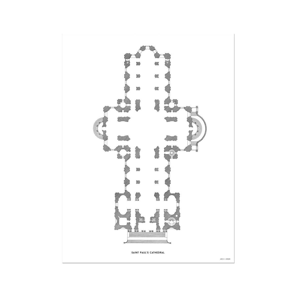 Saint Paul's Cathedral - Floor Plan - White -  Etching Paper Print