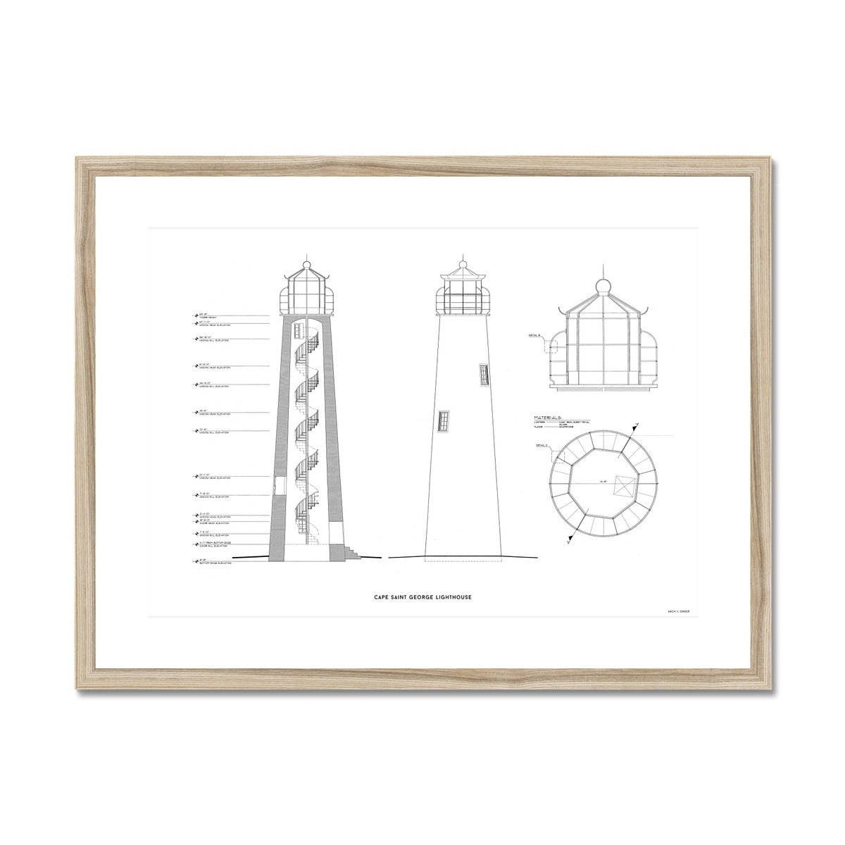 Cape Saint George Lighthouse - Southeast Elevation and Cross Section - White - Framed Mounted Print