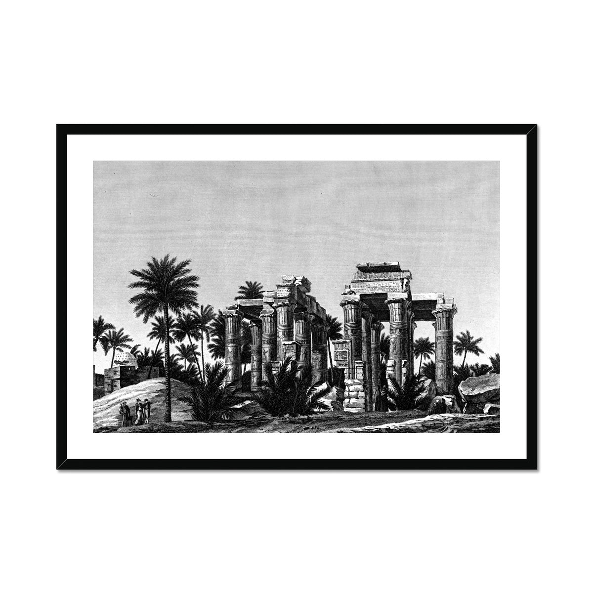 Temple Ruins Perspective View - Qau el-Kebir Egypt -  Framed & Mounted Print