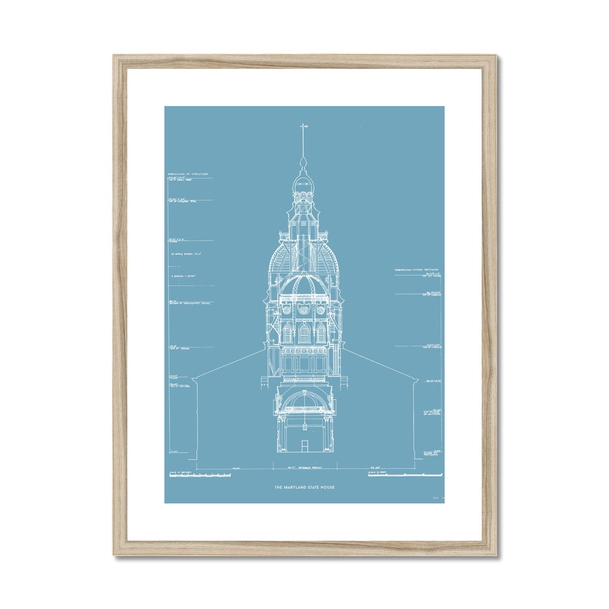 The Maryland State House - Northwest Elevation Cross Section - Blue -  Framed & Mounted Print