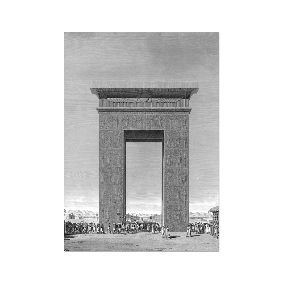 Elevation of the South Gate - Karnak - Thebes Egypt -  Etching Paper Print