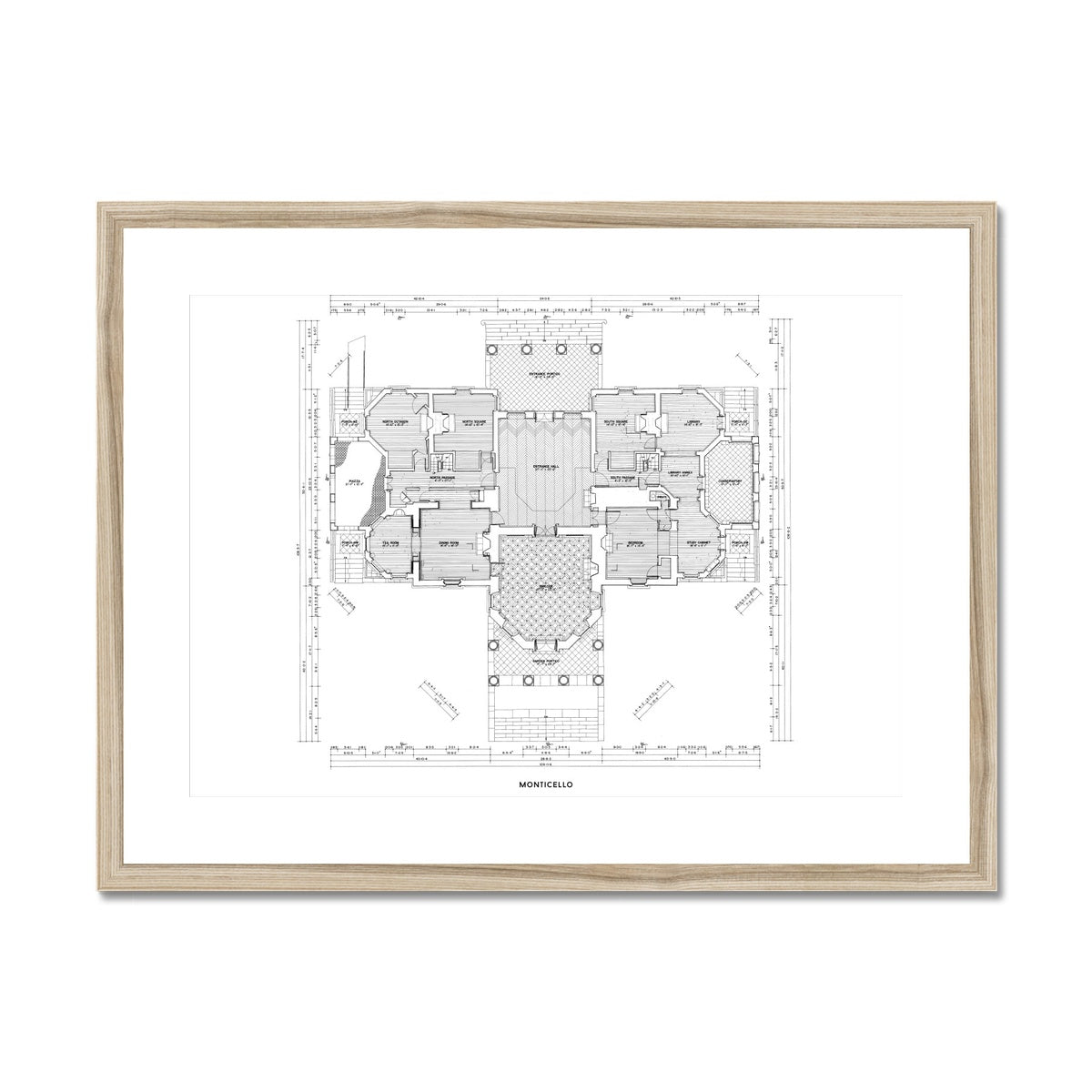 Monticello - First Floor Plan - White -  Framed & Mounted Print