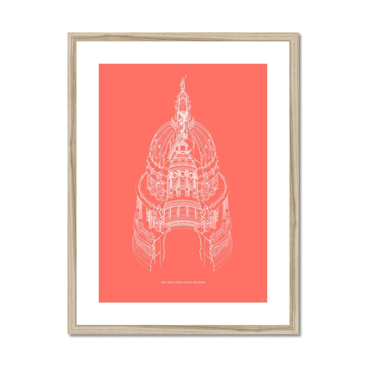 The Texas State Capitol Building - Dome Axonometric Cross Section - Red -  Framed & Mounted Print