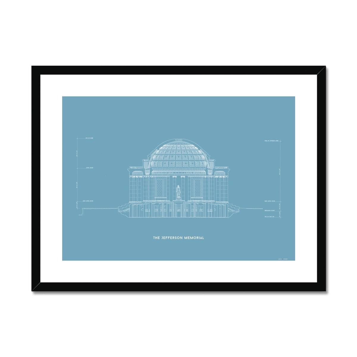 The Jefferson Memorial North Elevation Cross Section - Blue -  Framed & Mounted Print