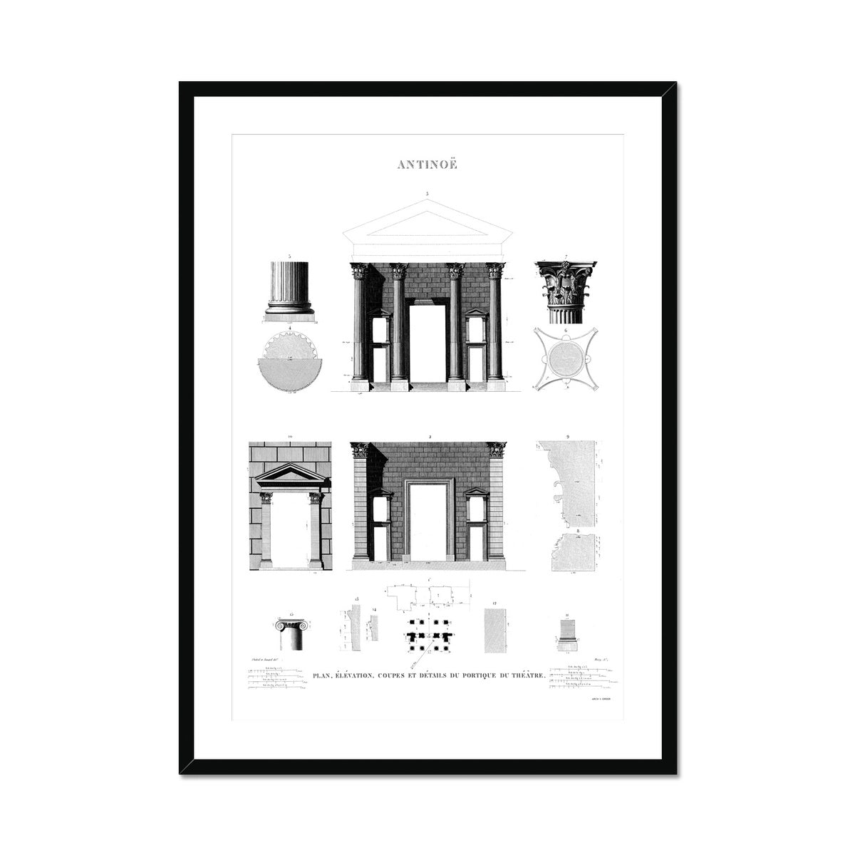 Theater Elevation - Antinoöpolis Egypt -  Framed & Mounted Print