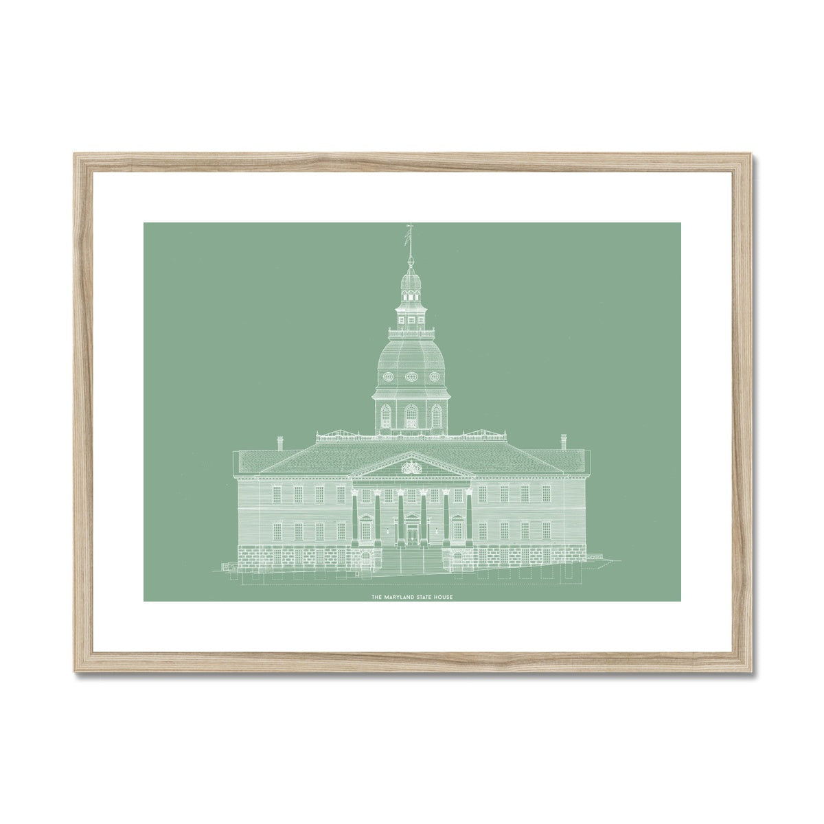 The Maryland State House - Northwest Elevation - Green -  Framed & Mounted Print