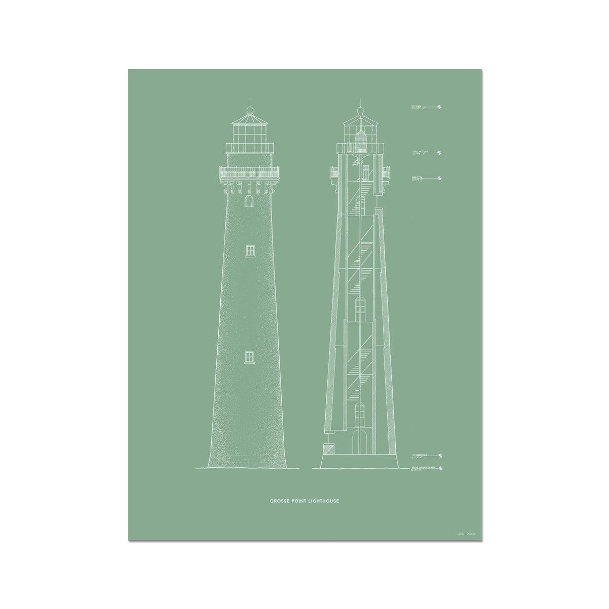 Grosse Point Lighthouse - East Elevation and Cross Section - Green - German Etching Print