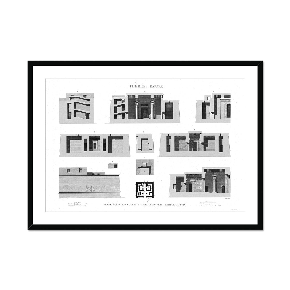 Sections of the Small Southern Temple - Karnak - Thebes Egypt -  Framed & Mounted Print