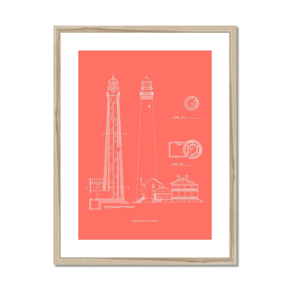The Pensacola Lighthouse - West Elevation and Cross Section - Red -  Framed & Mounted Print