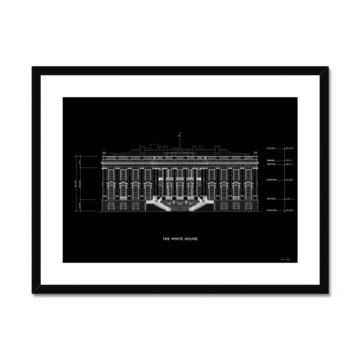 The White House South Elevation - Black -  Framed & Mounted Print