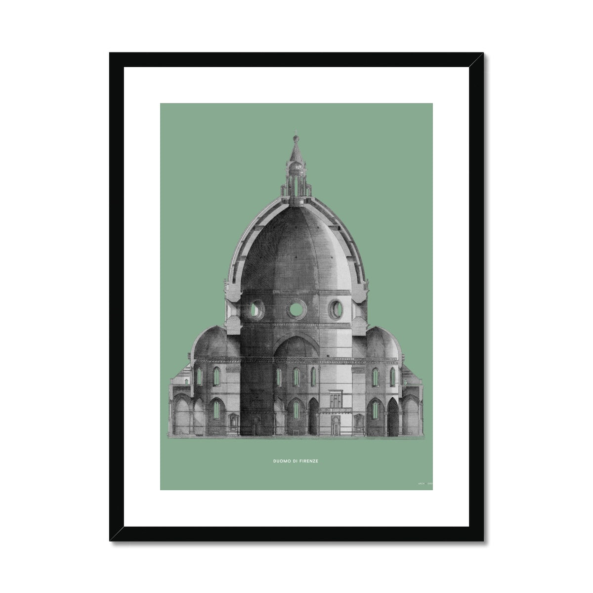 Duomo di Firenze - Primary Elevation Cross Section - Green -  Framed & Mounted Print