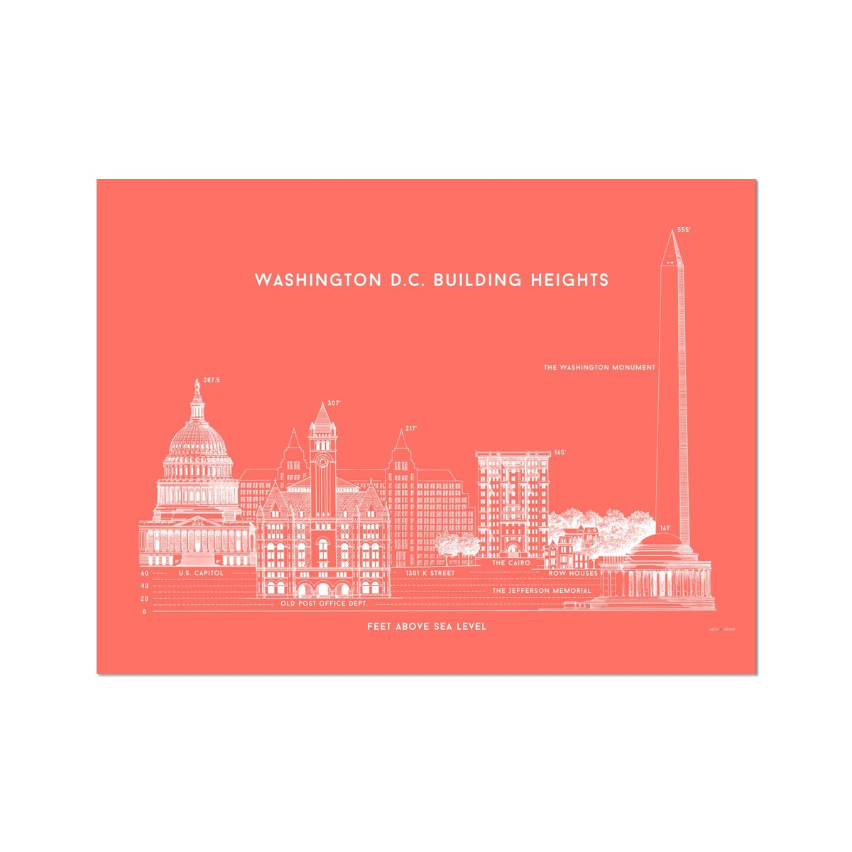 Washington D.C. Building Heights Comparison - Red -  Etching Paper Print