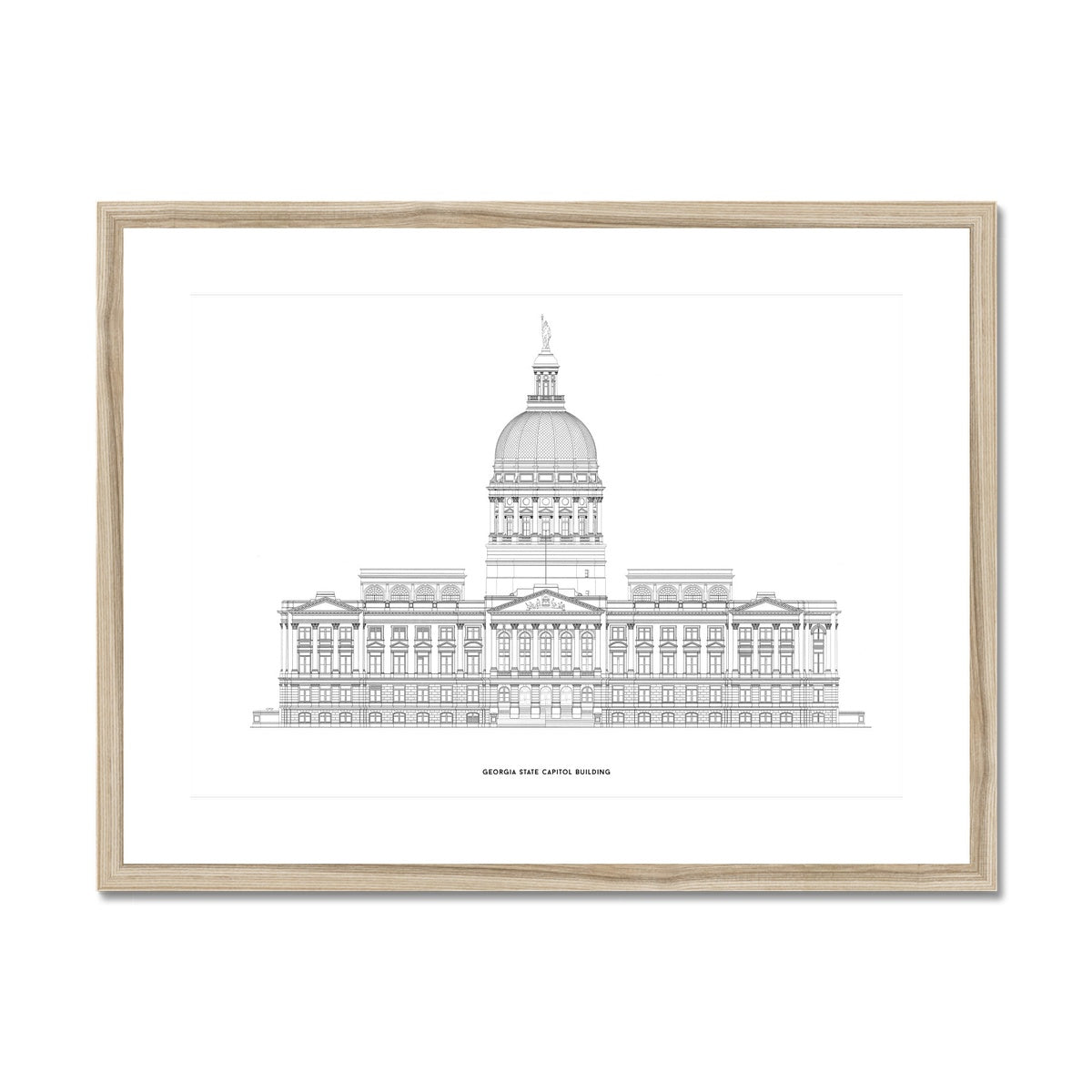 The Georgia State Capitol Building - West Elevation - White -  Framed & Mounted Print
