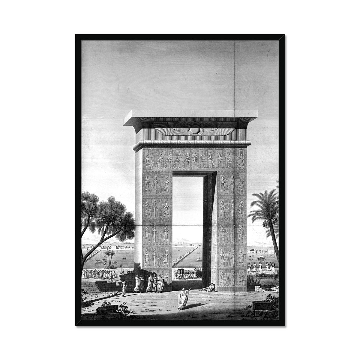 North Gate Elevation - Dendera Egypt -  Framed Print