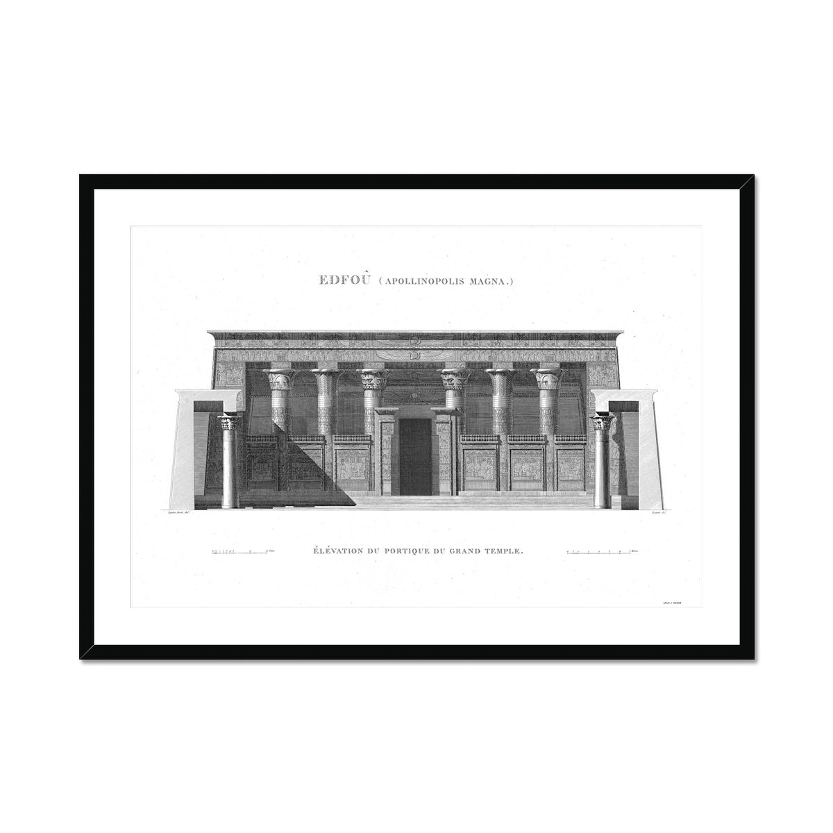 Temple of Horus Portico Detail - Edfu Egypt -  Framed & Mounted Print