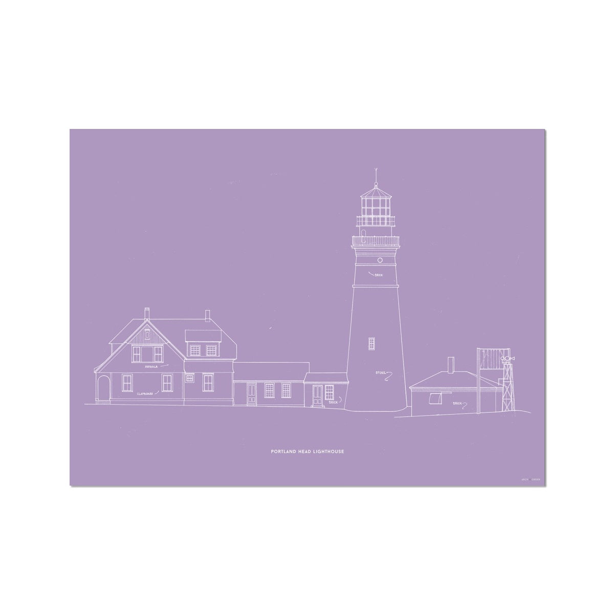 Portland Head Lighthouse - Southeast Elevation - Lavender -  Etching Paper Print