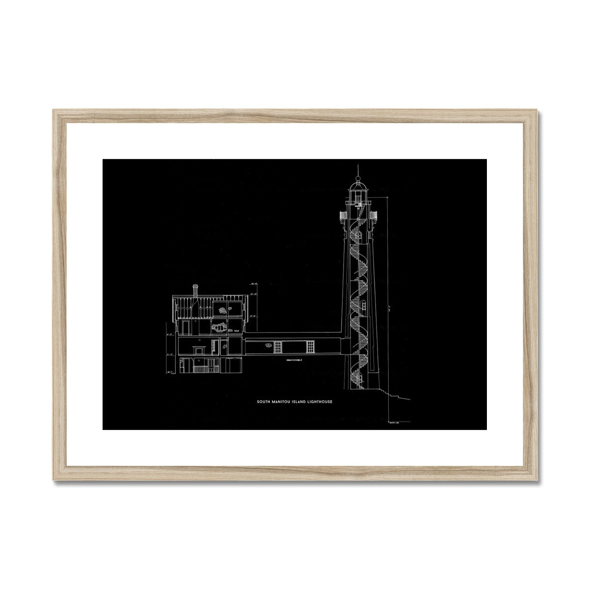 South Manitou Island Lighthouse - Cross Section - Black -  Framed & Mounted Print