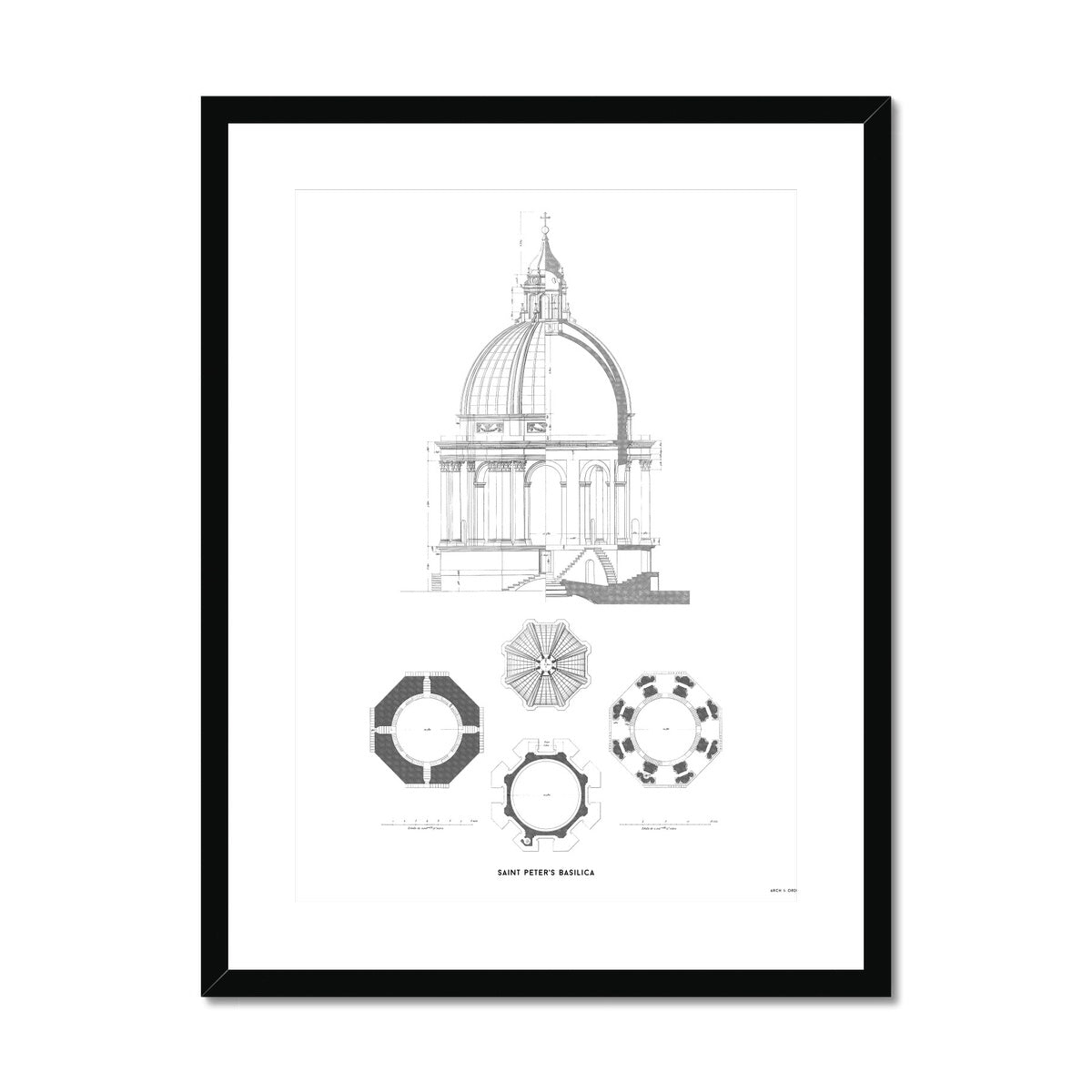 Saint Peter's Basilica - Dome Detail - White -  Framed & Mounted Print