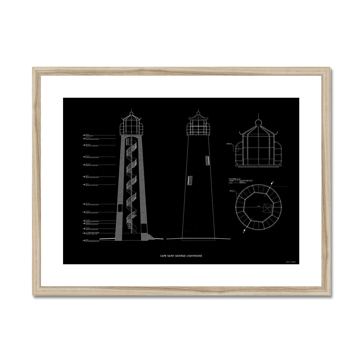 Cape Saint George Lighthouse - Southeast Elevation and Cross Section - Black - Framed Mounted Print