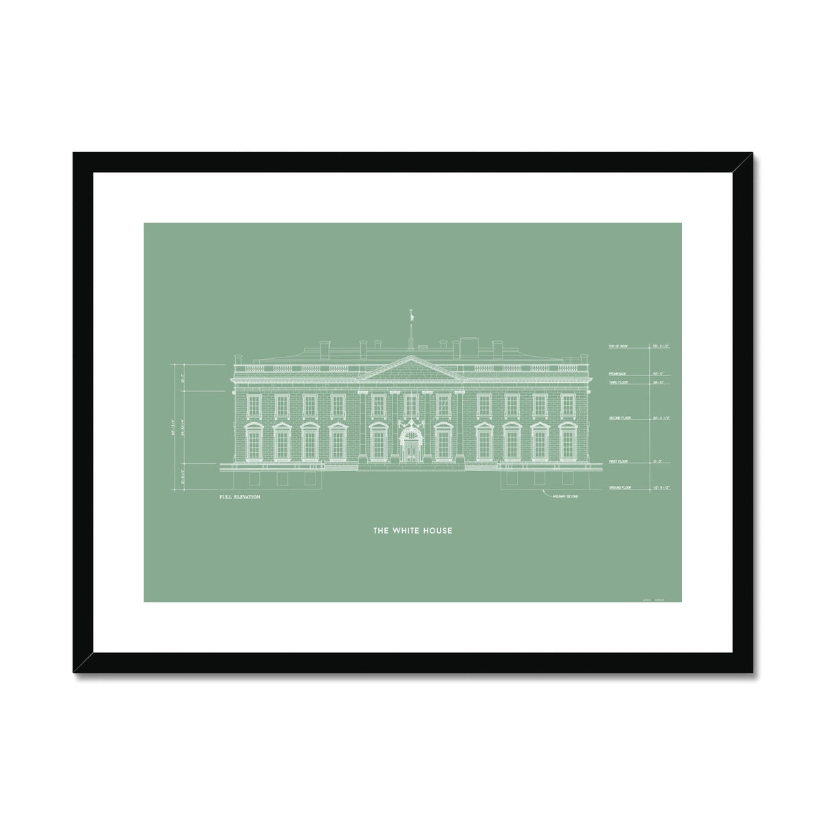 The White House North Elevation - Green -  Framed & Mounted Print