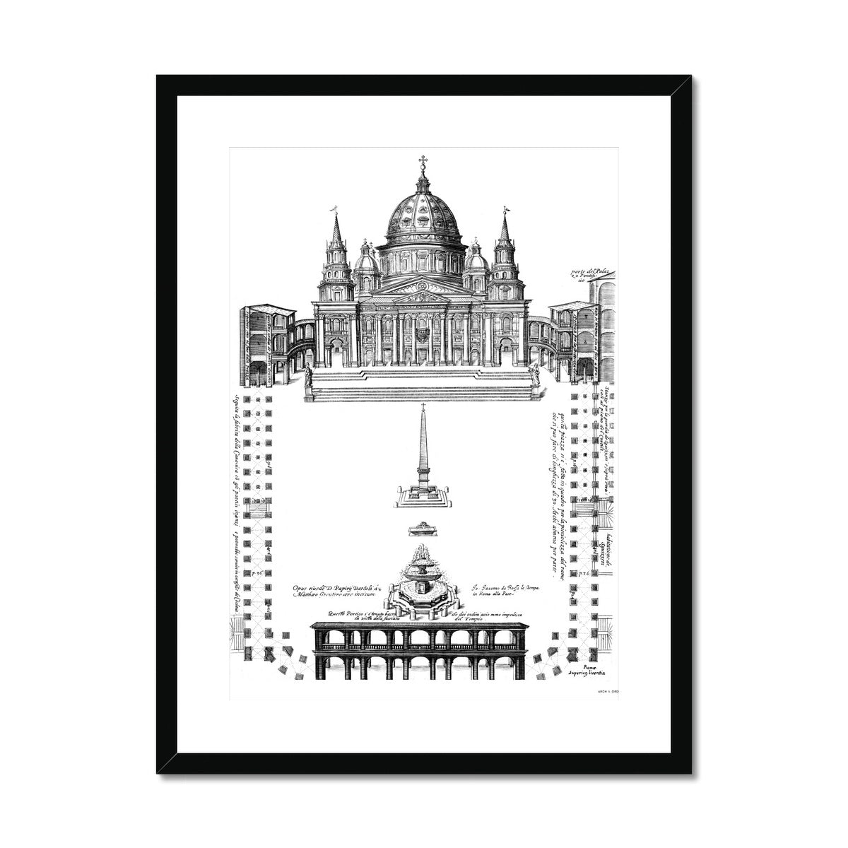 Saint Peter's Basilica - Site Plan - White -  Framed & Mounted Print