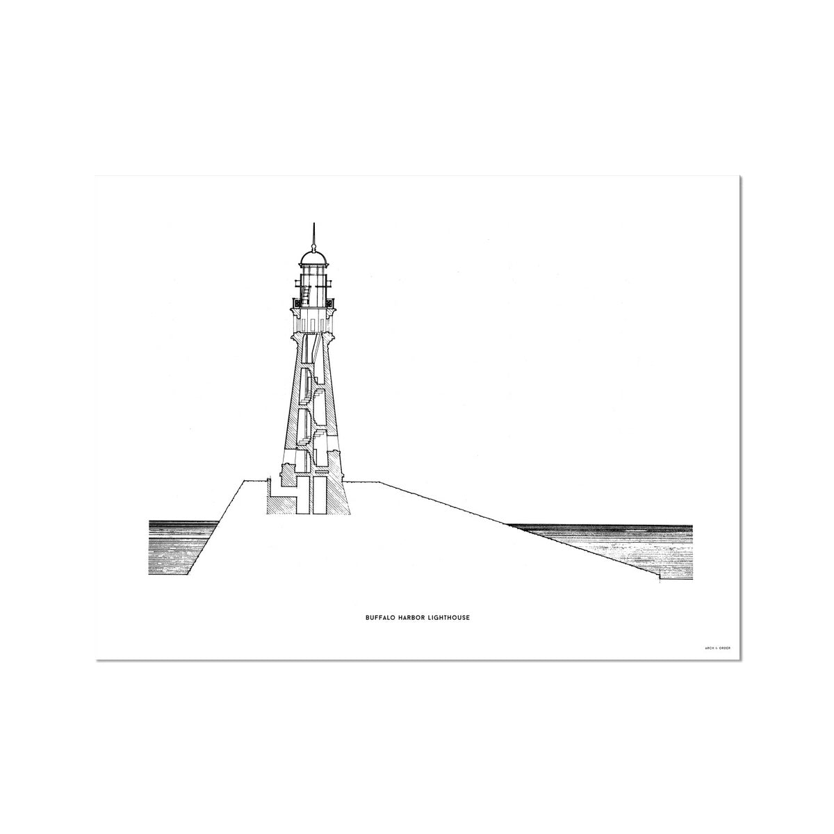 Buffalo Harbor Lighthouse - Cross Section - White -  Etching Paper Print