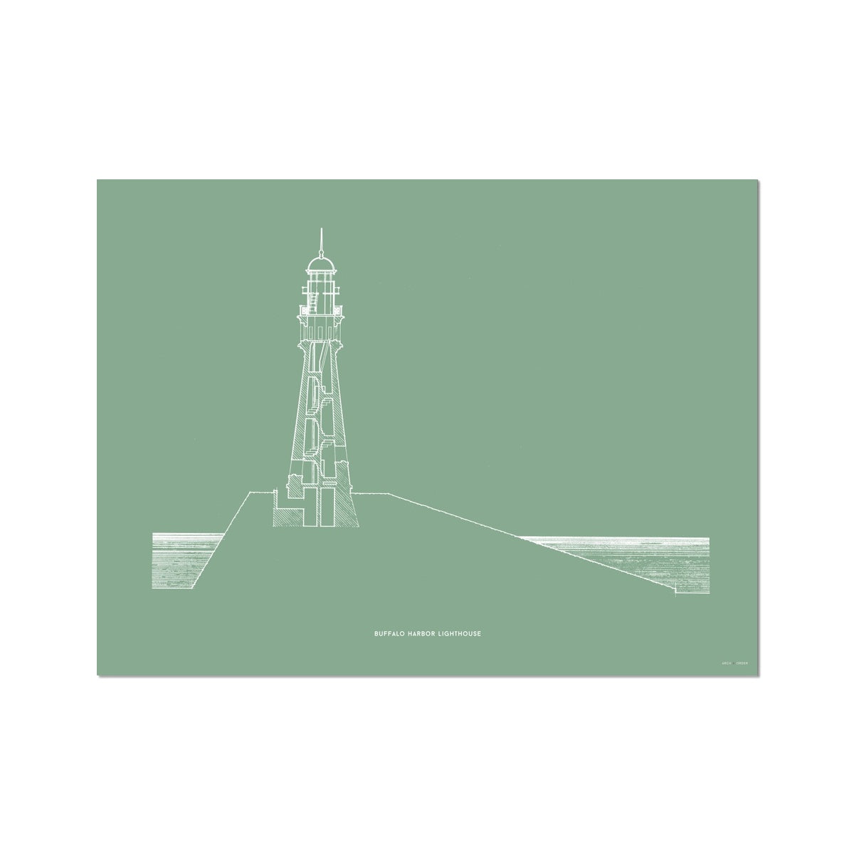 Buffalo Harbor Lighthouse - Cross Section - Green -  Etching Paper Print