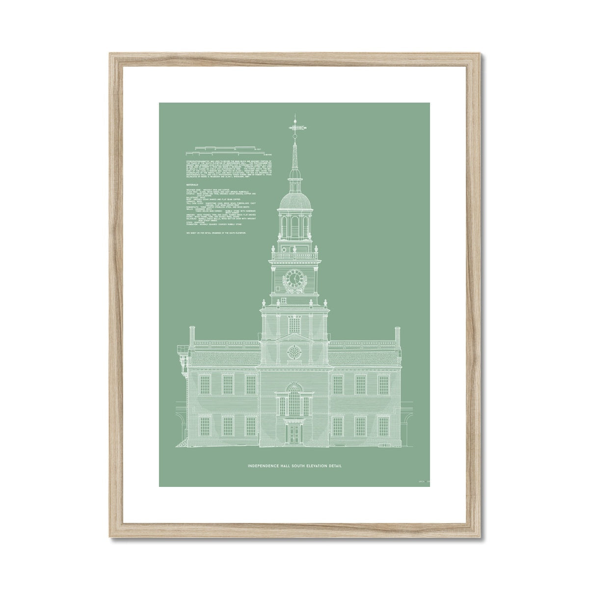 Independence Hall - South Elevation Detail - Green -  Framed & Mounted Print