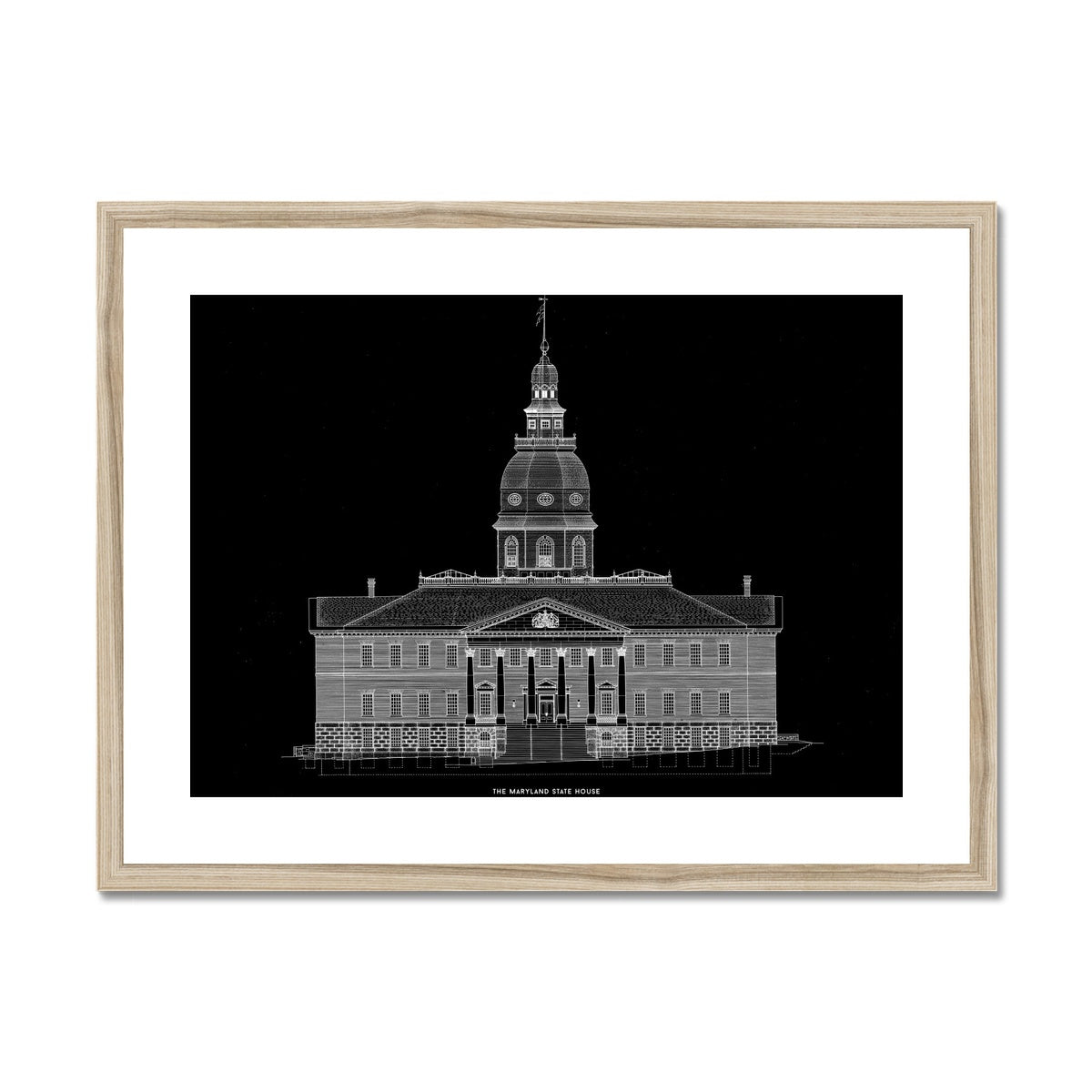 The Maryland State House - Northwest Elevation - Black -  Framed & Mounted Print