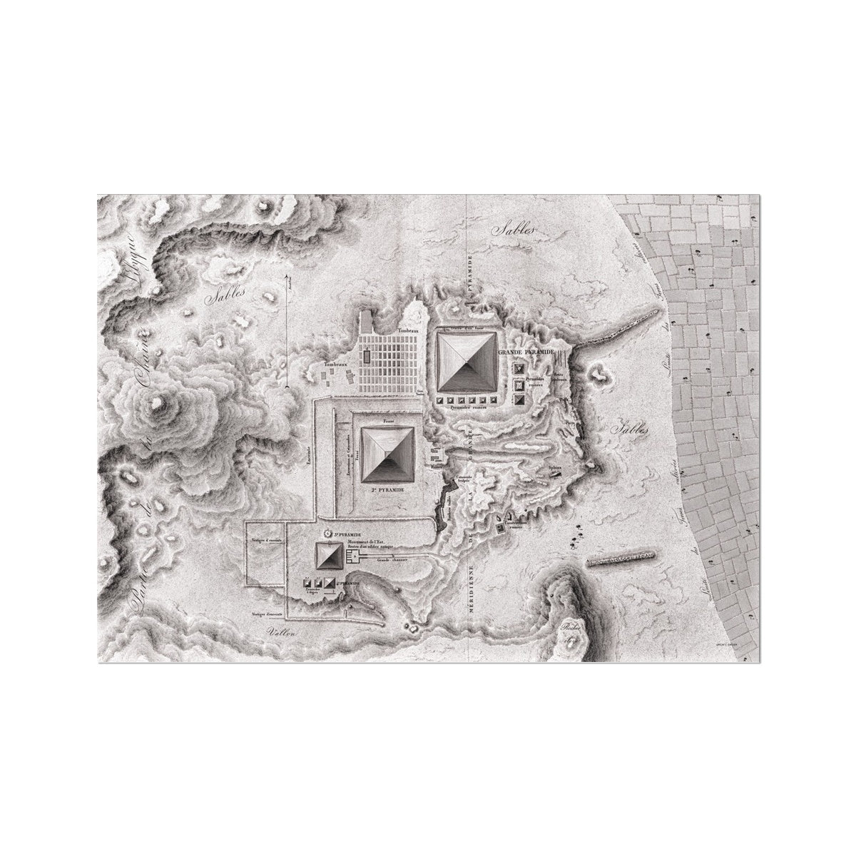 Topographic Map of the Pyramids - Memphis Egypt -  Etching Paper Print