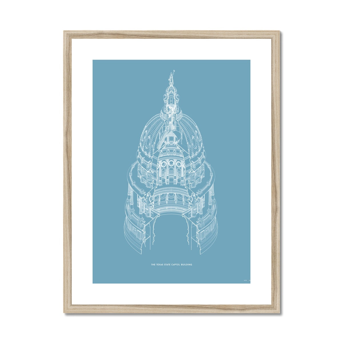 The Texas State Capitol Building - Dome Axonometric Cross Section - Blue -  Framed & Mounted Print