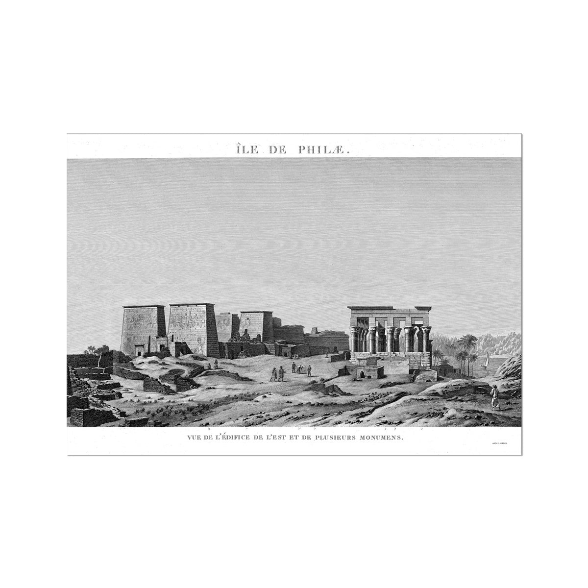 The Temple of Isis View from the East - Philae Egypt -  Etching Paper Print
