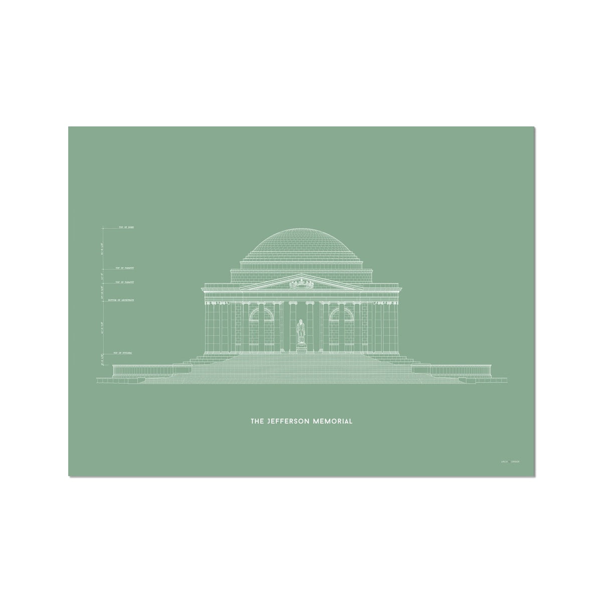 The Jefferson Memorial North Elevation - Green -  Etching Paper Print