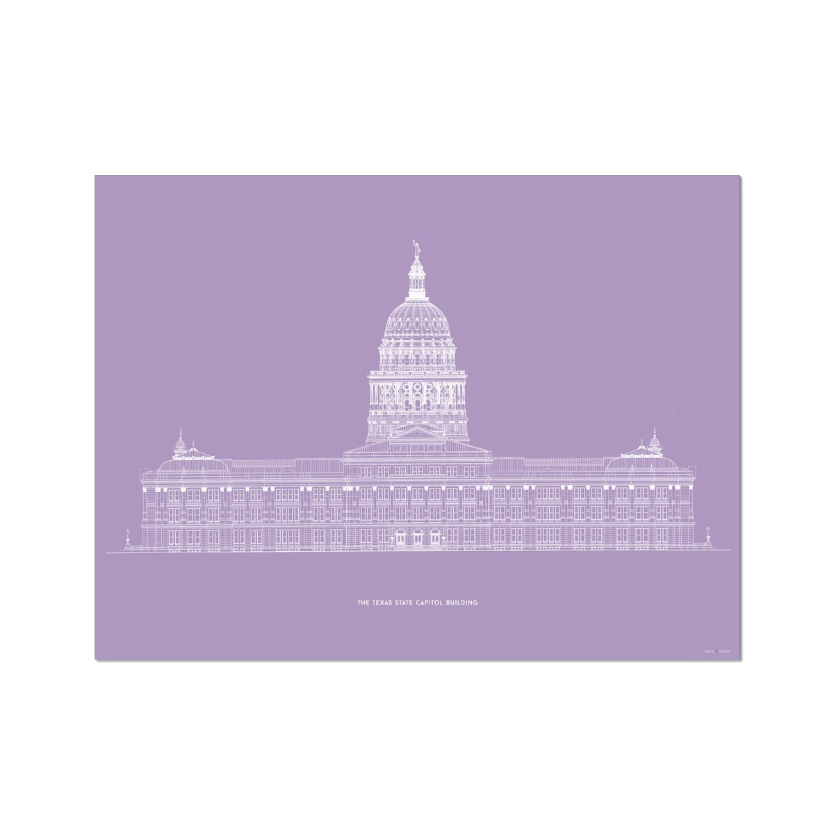 The Texas State Capitol Building - North Elevation - Lavender -  Etching Paper Print
