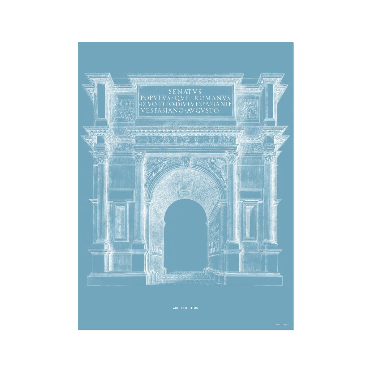 The Arch of Titus - Blue -  Etching Paper Print