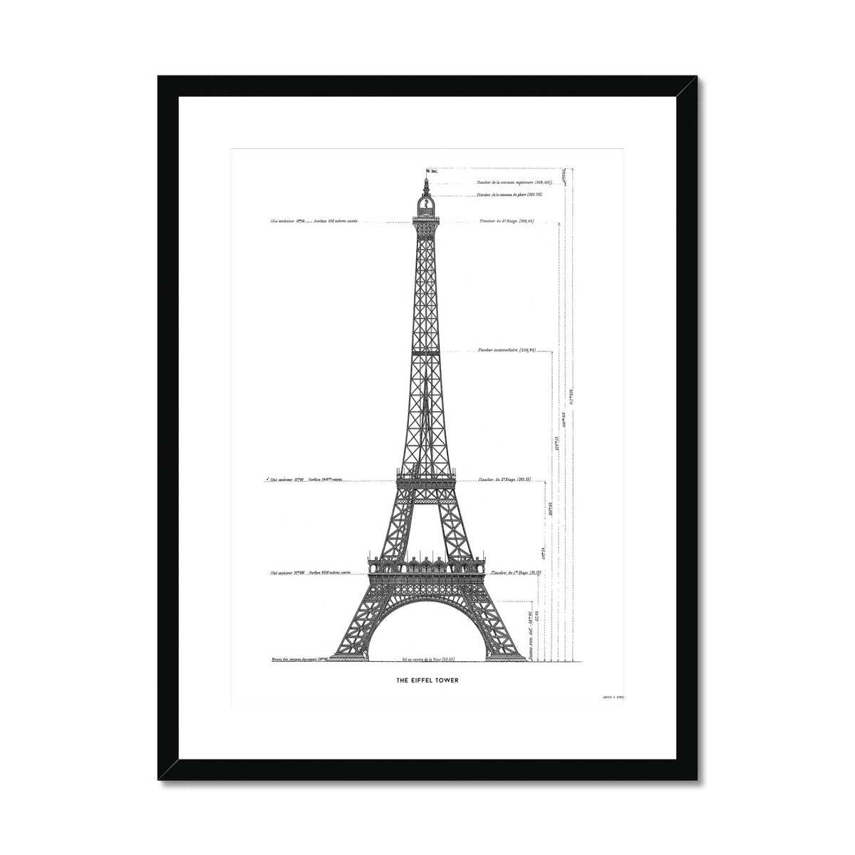 The Eiffel Tower - Primary Elevation - White -  Framed & Mounted Print