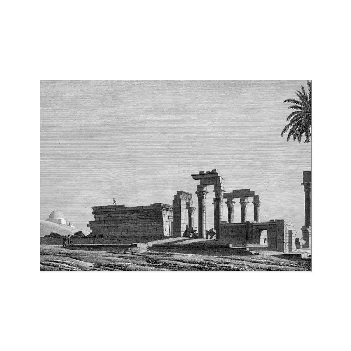 The Temple of Hermonthis Ruins 1 - Armant Egypt -  Etching Paper Print