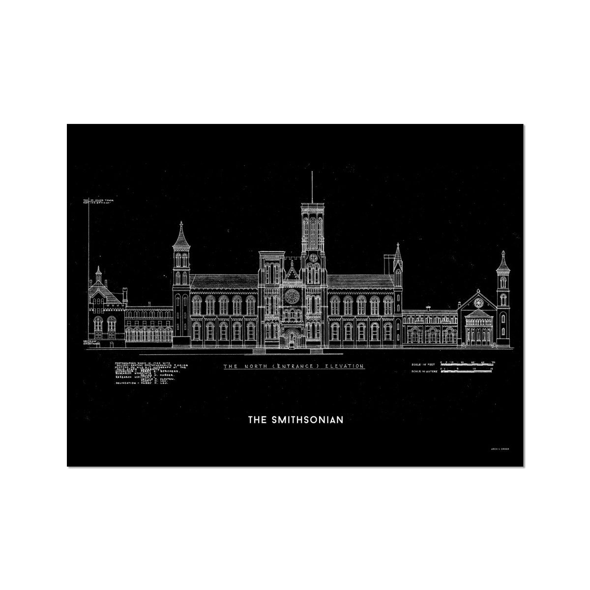 The Smithsonian North Elevation - Black -  Etching Paper Print