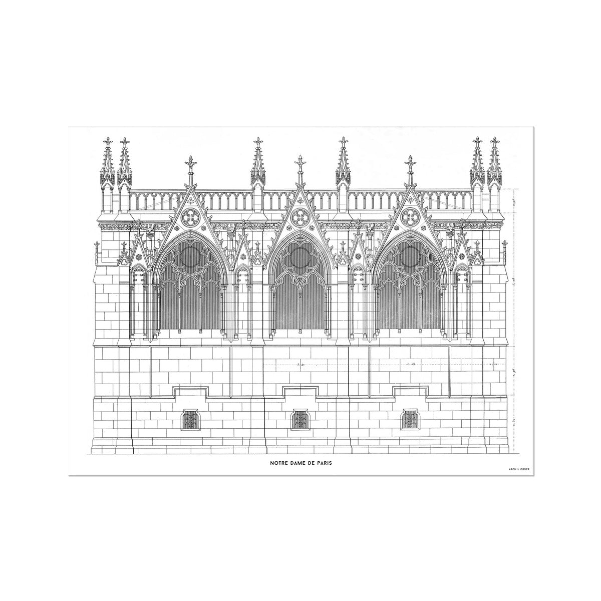 Notre Dame de Paris - Side Elevation - White -  Etching Paper Print