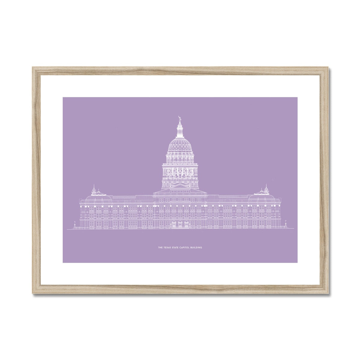 The Texas State Capitol Building - North Elevation - Lavender -  Framed & Mounted Print