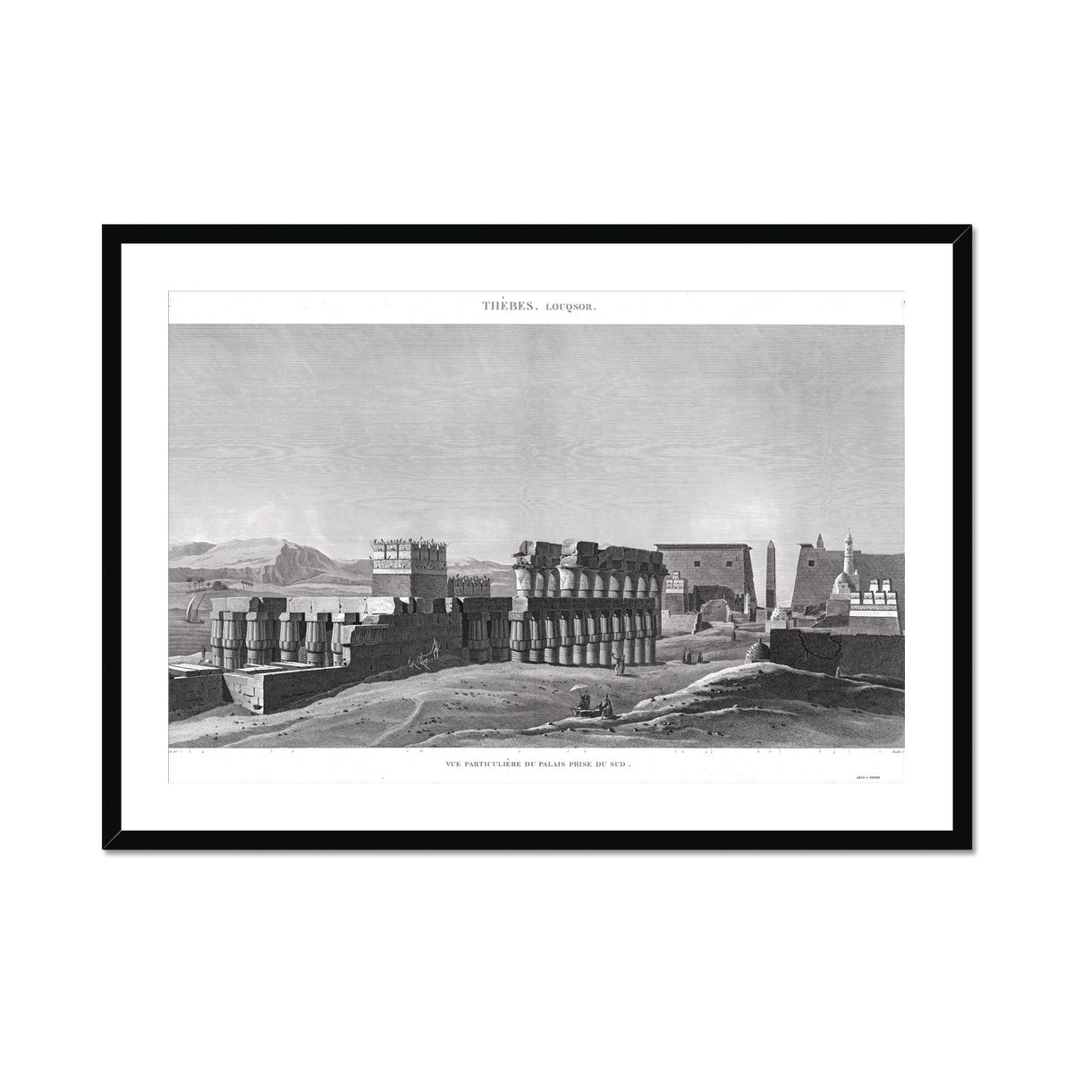 View of the Palace From the South - Luxor - Thebes Egypt -  Framed & Mounted Print
