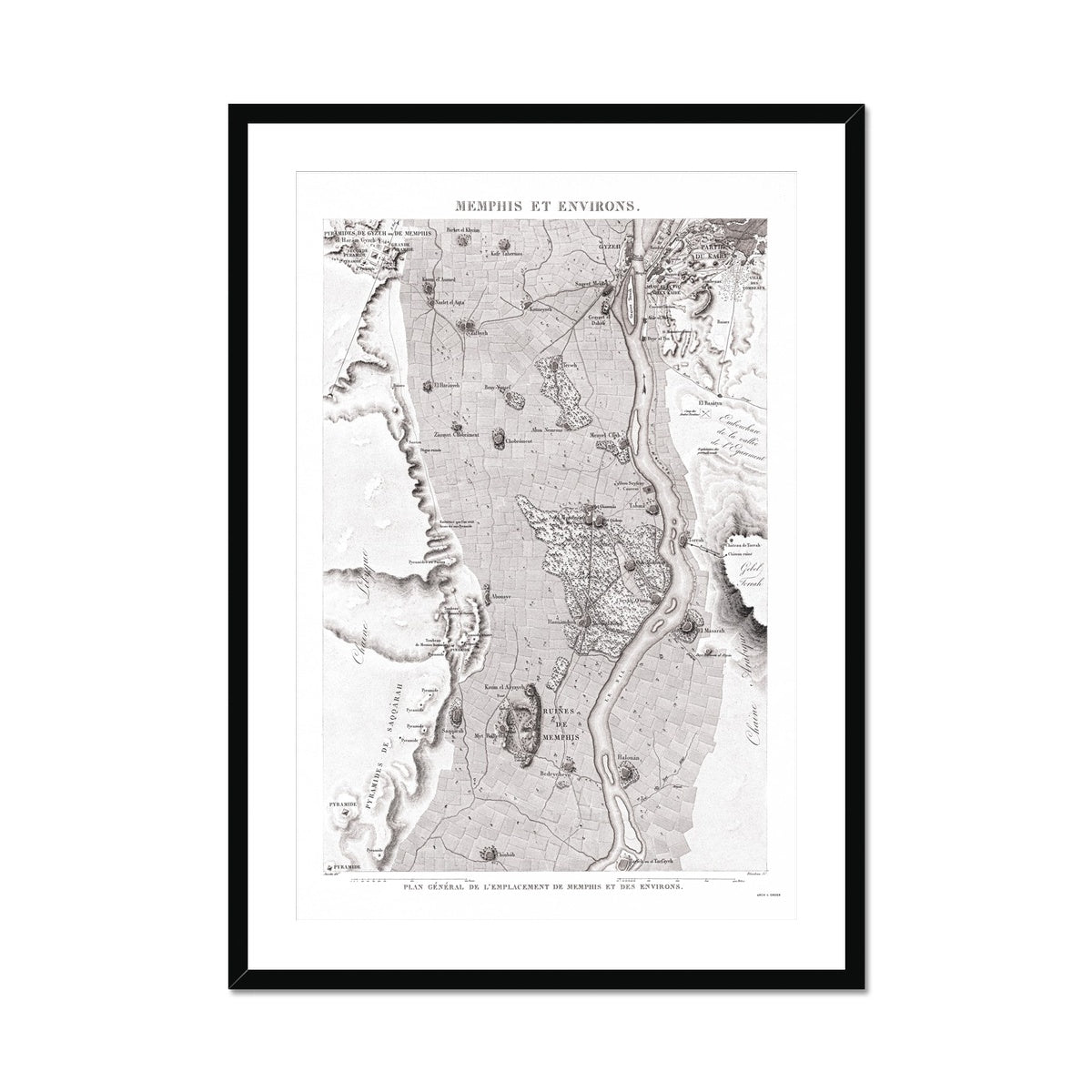 Map of the Ruins - Memphis Egypt -  Framed & Mounted Print