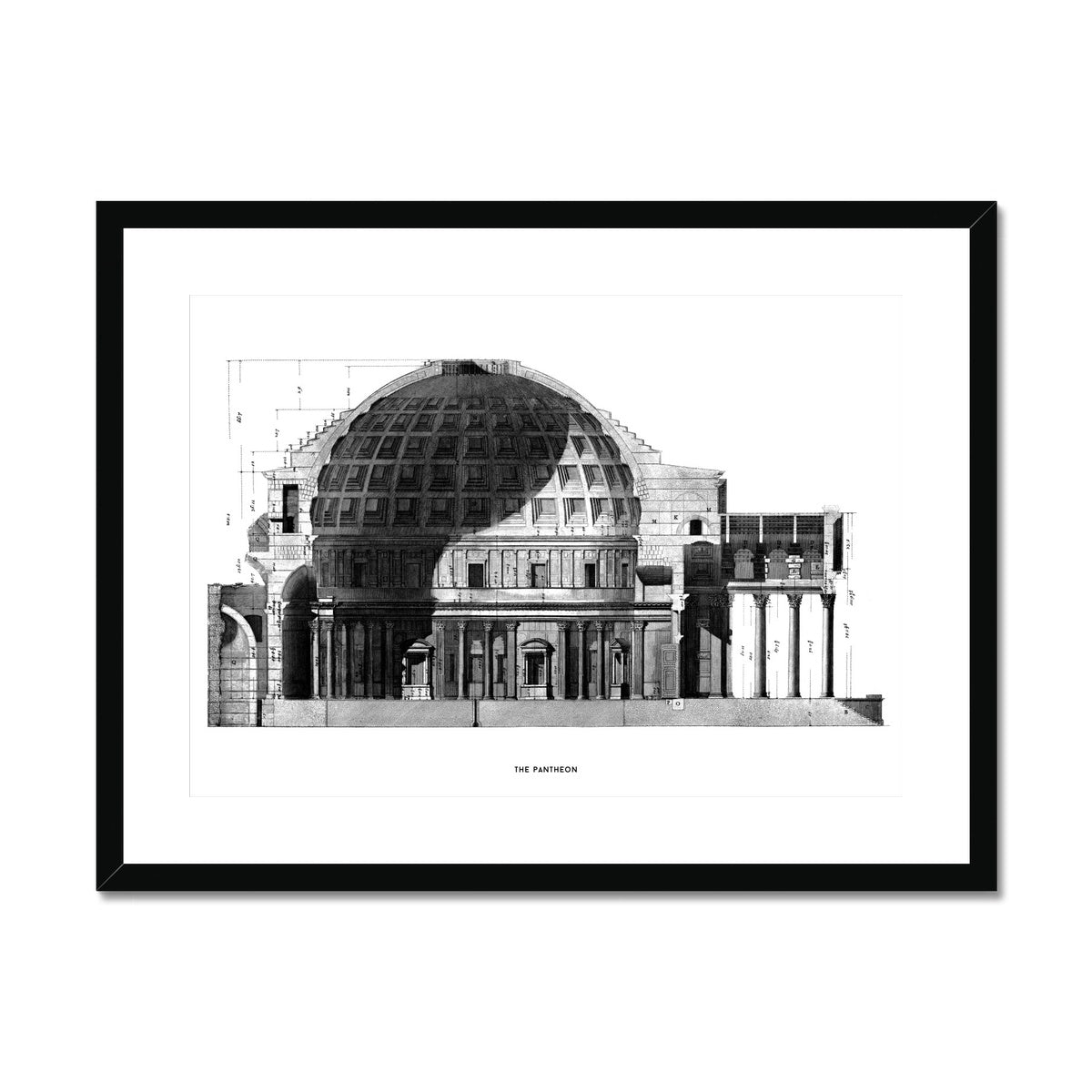 The Pantheon - Cross Section -  Framed & Mounted Print
